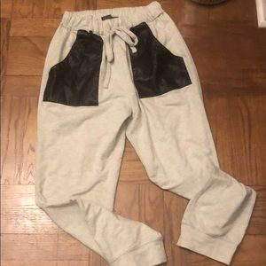 NWOT Sweatpant Jogger with Faux Leather Pocket